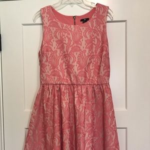 H&M Nude w Pink Lace Overlay A Line Dress in Large